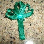 Finished Ribbon Shamrock Pin