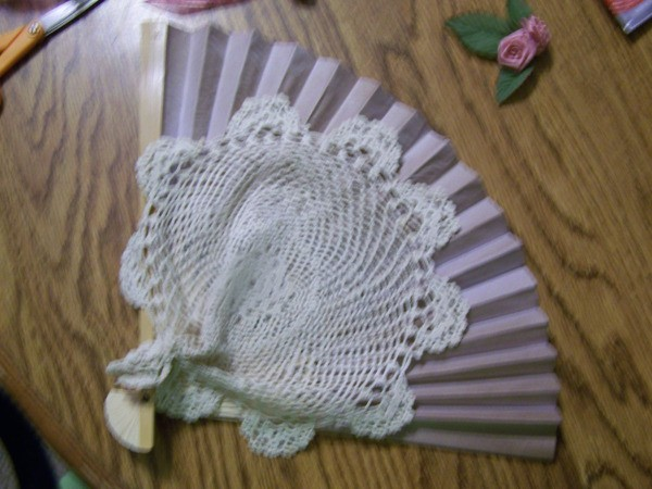 Floral Fan Pin - crocheted doily added to fan.