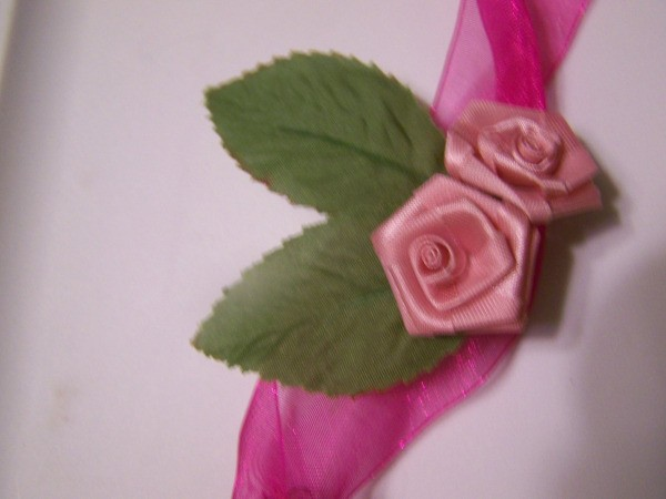 Floral Fan Pin - silk roses on top of ribbon.