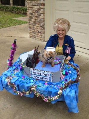 Webster and Mitzi in a patriotic sailor parade float.