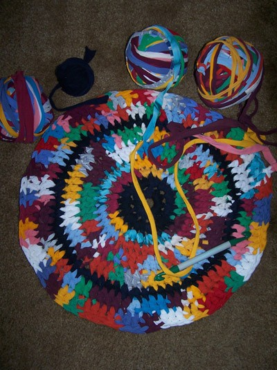 Craft Project: T-Shirt Rag Rug in process.