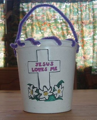 Bible school craft ideas thriftyfun religious themed cottage cheese easter basket negle Images