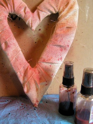Fabric wrapped heart with inks.