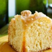 Slice of moist lemon cake.