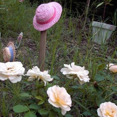 Painted straw hats in the garden.