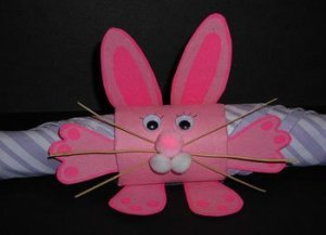 Pink bunny napkin ring.