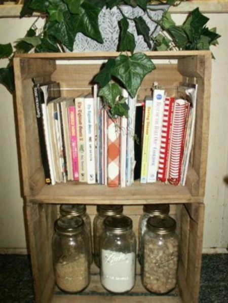 Using wood crates for cookbooks.