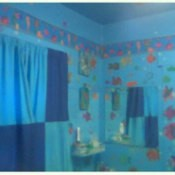 Fish Theme Bathroom in blues with primary colors
