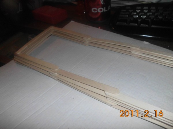 Popsicle Stick Shelf - start with sets of three sticks