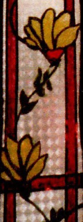 A faux stained glass window
