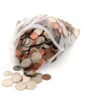 Saving Money On Ziptop Bags, Coins in Zip-Lock Bag