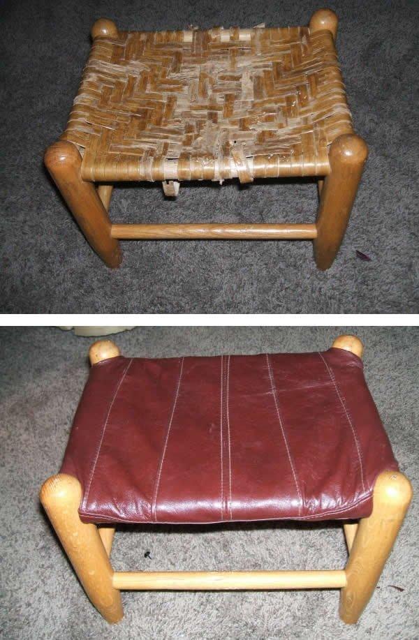Leather Jacket Footstool -refinishing a footstool