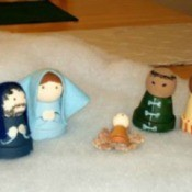 Nativity made from clay pots.