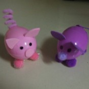 Plastic Easter Egg Animals - Pig and mouse eggs.