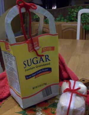 Gift bag made out of a sugar bag