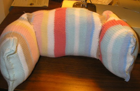 Step 7 Recycled Sweater Neck Pillow Craft