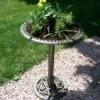 Turning a birdbath into a planter.
