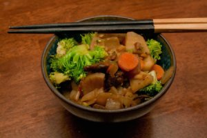 Sunchoke Stir Fry in Rice Bowl