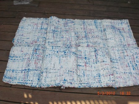 Woven Rug from Recycled Insulation Bags