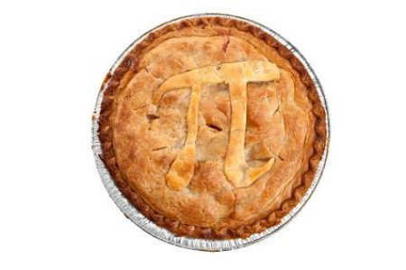 A pie with the symbol for pi on it.