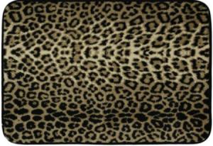 A leopard print memory foam mat used as a car seat cover.