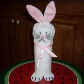 Easter bunny made from paint roller.