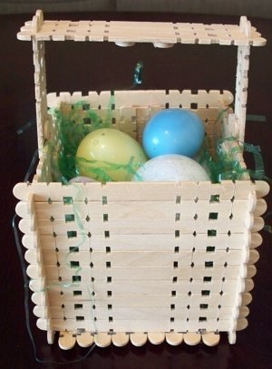 Easter basket made from wooden craft sticks.