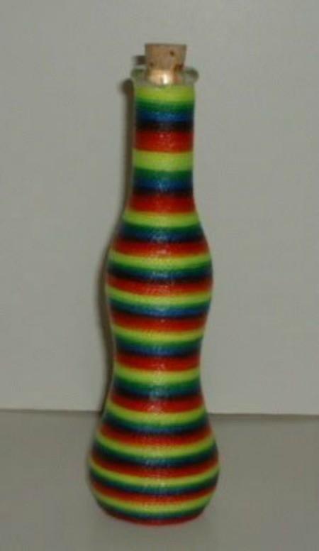 Rainbow twine wrapped bottle.