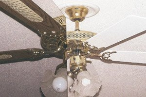 Ceiling Fan Facelift - one side is the old fan blades, the other is the painted version.