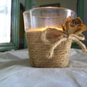 Twine-Wind Your Votive Glass and finish with a bow and dried flower.