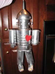 Tin man made from recycled cans.