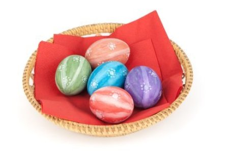 Decorated Easter Eggs in Basket
