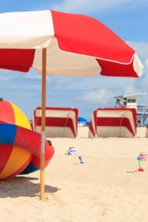 Beach Umbrella and Toys