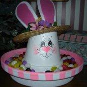 Terra cotta bunny candy dish.