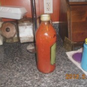 A bottle of homemade ketchup