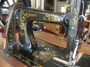 Closeup of Winselmann sewing machine.