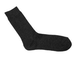 Single Black Sock on White Background