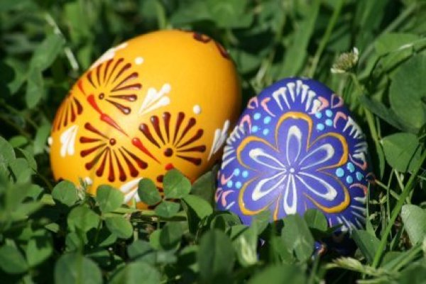 Easter egg hunt ideas thriftyfun decorated easter eggs in grass negle Choice Image