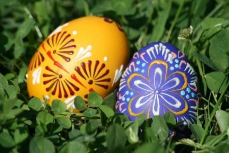 Decorated Easter Eggs in Grass