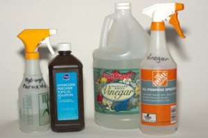 Hydrogen Peroxide and Vinegar With Spray Bottles