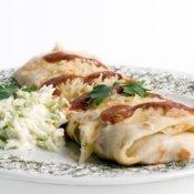 Breakfast Burrito on a White Plate