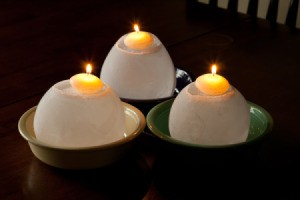 Frosty Ice Candles in Bowls