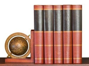 Old Encyclopedias on Shelf