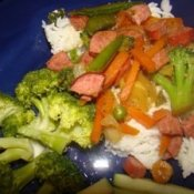 A dinner of kielbasa and vegetables
