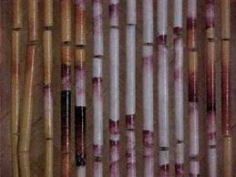 Bamboo door curtain.