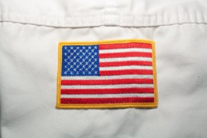 American Flag on White Taekwondo Uniform