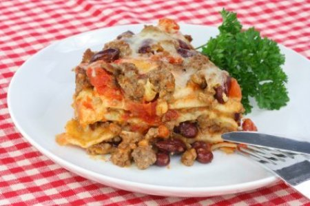Taco Casserole on Red Checked Table Cloth