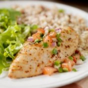 Chicken and Rice on Plate with Salad