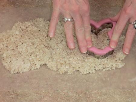 Cutting Rice Krispy Bunnies