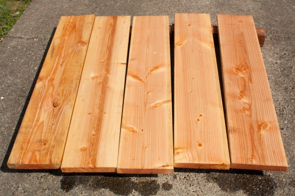 Square Foot Raised Garden Beds - Stained Panels Drying